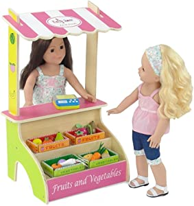 18-inch Doll Furniture Accessories | Brightly Colored Kid's Pretend Play Farmer's Market Fruit and Vegetable Stand with 16 Colorful Wooden Food Items and Produce Scale | Fits American Girl Dolls