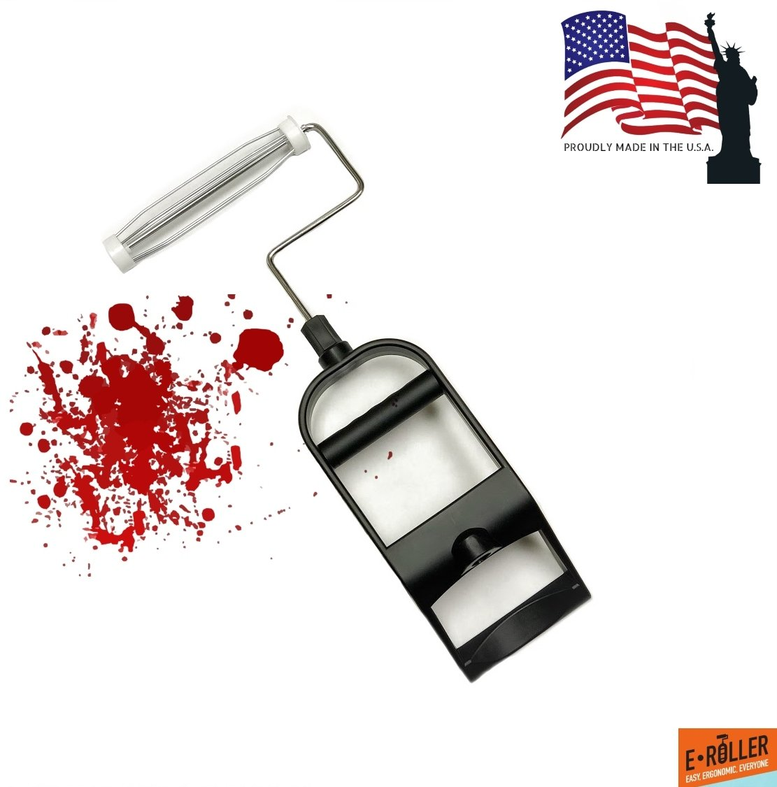 All New! Ergonomic Paint Brush Roller Applicator and Handle Set/Kit - with 9'' Roller Comfort Handle - by E∙ROLLER