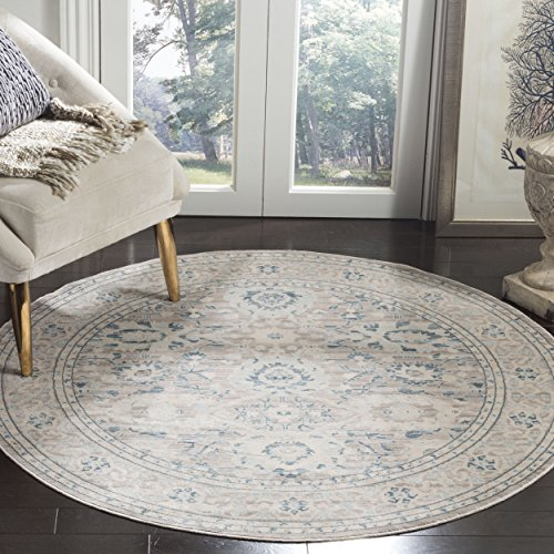5r Classic Round Rug - Safavieh Archive Collection ARC670A Vintage Grey and Blue Distressed Round Area Rug (5' Diameter)