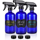 GlassSprayBottle,Empty Cobalt Blue Spray Bottle Refillable Containers, 16oz Spray Bottles for Essential Oils, Cleaning, Aromatherapy, Durable Black Trigger Sprayer Fine Mist and Stream(3 Pack)