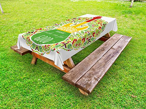 Ambesonne Rasta Outdoor Tablecloth, Reggae Music Makes Me Feel Good Quote Jamaican Island Culture Iconic Guitar, Decorative Washable Picnic Table Cloth, 58 X 84 inches, Green Yellow and Red ()
