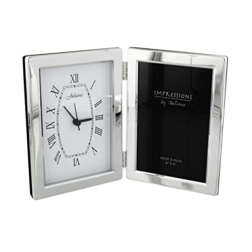 Personalised Silver Plated Clock & 4\