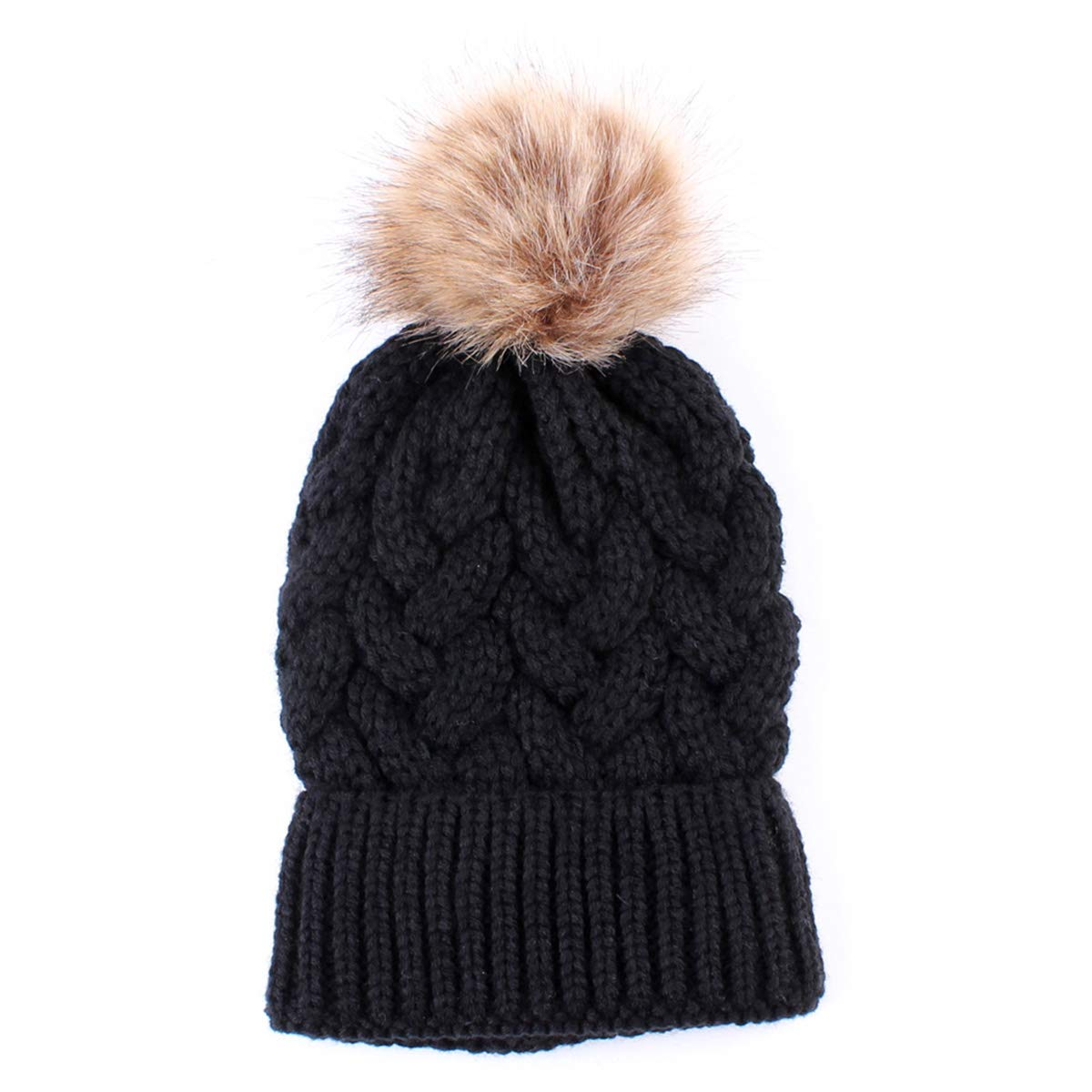 6f918a7b134 2PCS Mother Baby Hat Family Matching Cap Winter Warmer Knit Wool Beanie Ski  Cap (Black)  Amazon.co.uk  Clothing