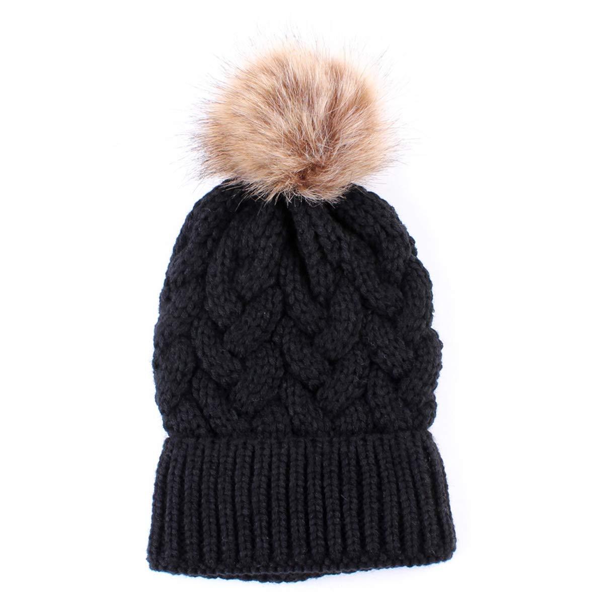 e9b333183c0d0 2PCS Mother Baby Hat Family Matching Cap Winter Warmer Knit Wool Beanie Ski  Cap (Black)  Amazon.co.uk  Clothing