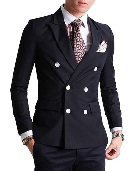 Amazon.com: Fitty Lell – Traje de hombre de moda, con doble ...