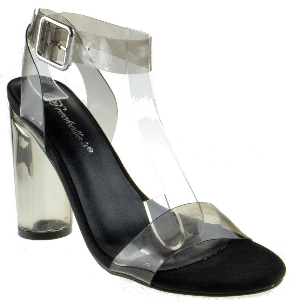 Vienna 01 Womens Clear Chunky Heel Ankle Buckle Platform Black 7