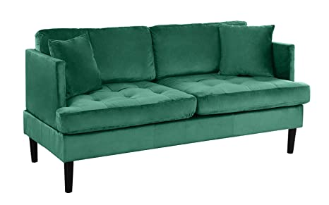 Remarkable Mid Century Modern Velvet Loveseat Sofa With Tufted Seats Green Andrewgaddart Wooden Chair Designs For Living Room Andrewgaddartcom