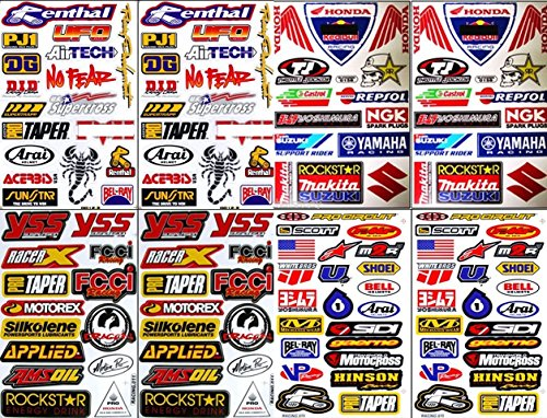 8x ATV Dirt Bike Helmet Racing Motorcycle Decal Sticker Sheets #RC801 ()