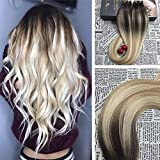 Moresoo 22 Inch Human Hair Extensions Remi Full Head Tape in Extensions Dark Brown #2 Fading to Blonde #27 Mixed #613 100G 40PCS