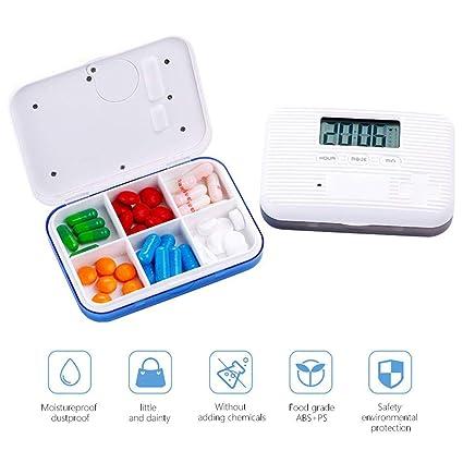 FOONEE Dispensador Automático de Píldoras, Organizador Electrónico de Medicamentos con Alertas, Luz Intermitente y Cierre de Seguridad, Tapa Blanca Sólida.
