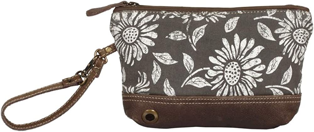 Myra Bag Sunflower Pouch Upcycled Wristlet Bag S-1286