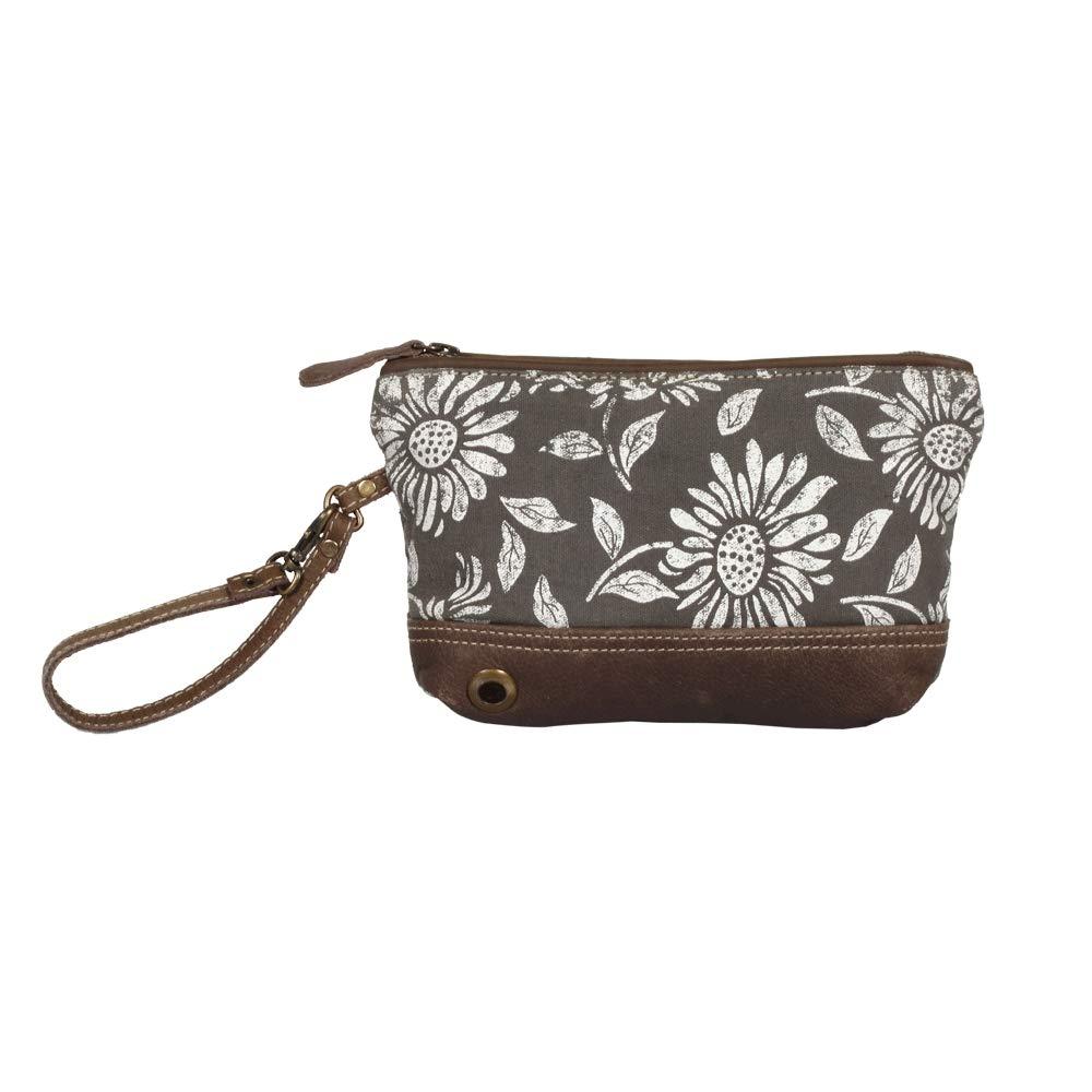 Myra Bag Sunflower Pouch Upcycled Wristlet Bag S-1286