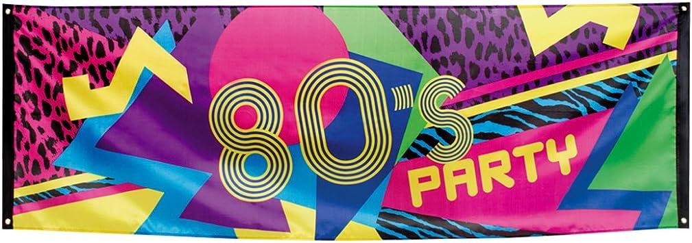 80er Jahre Party Banner 80/'s Dekobanner 74 x 220 cm Stoffbanner Achtziger Deko