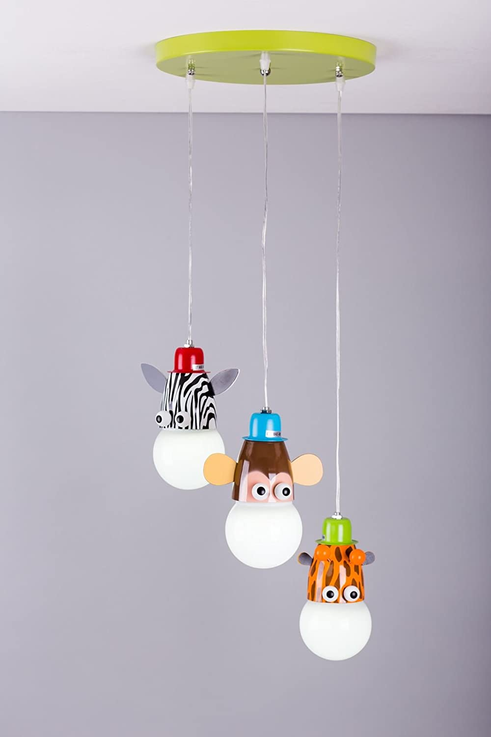 Kids bedroom ceiling lights - Giraffe Monkey Zebra Pendant Light Made From Solid Metal Suits Any Boys Or Girls Kids Bedroom