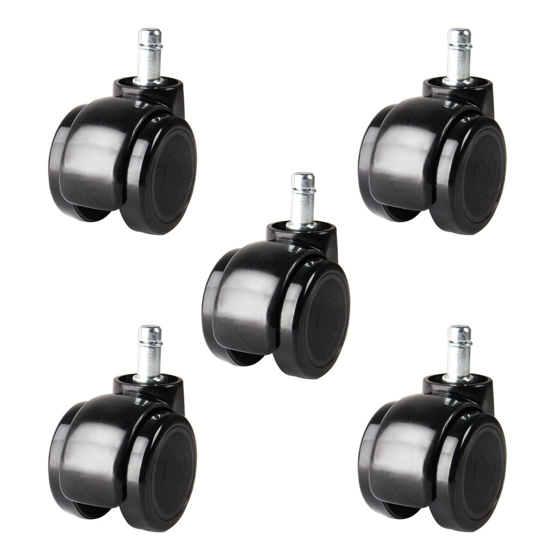 Adiyer [Set of 5] 2-inch Office Chair Caster Wheel for IKEA Chair, 10mm x 22mm Swivel Stem Casters, Polyurethane Wheels, 100 Lbs Per Caster, Black