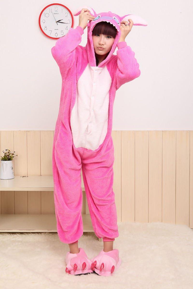 Adulto Unisexo Stitch azul Stitch rosado onesie Fiesta Disfraz de ...