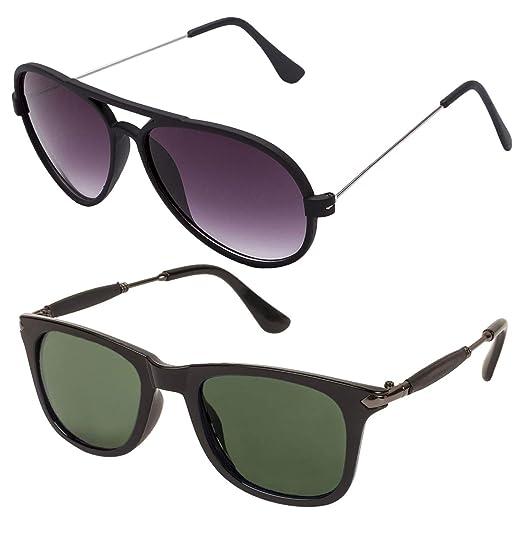03429c052835 Gansta Aviator Wayfarer Sunglasses combo for Men - Women  (GN11110-Blk-GD-GN11096-Gun-G15- Green Lenses): Amazon.in: Clothing &  Accessories