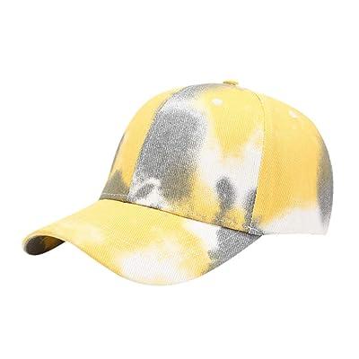 Sttech1 Womens Tie Dye Printed Baseball Cap Peaked Cap Sun Hat Sun Beach Hat Yellow: Clothing