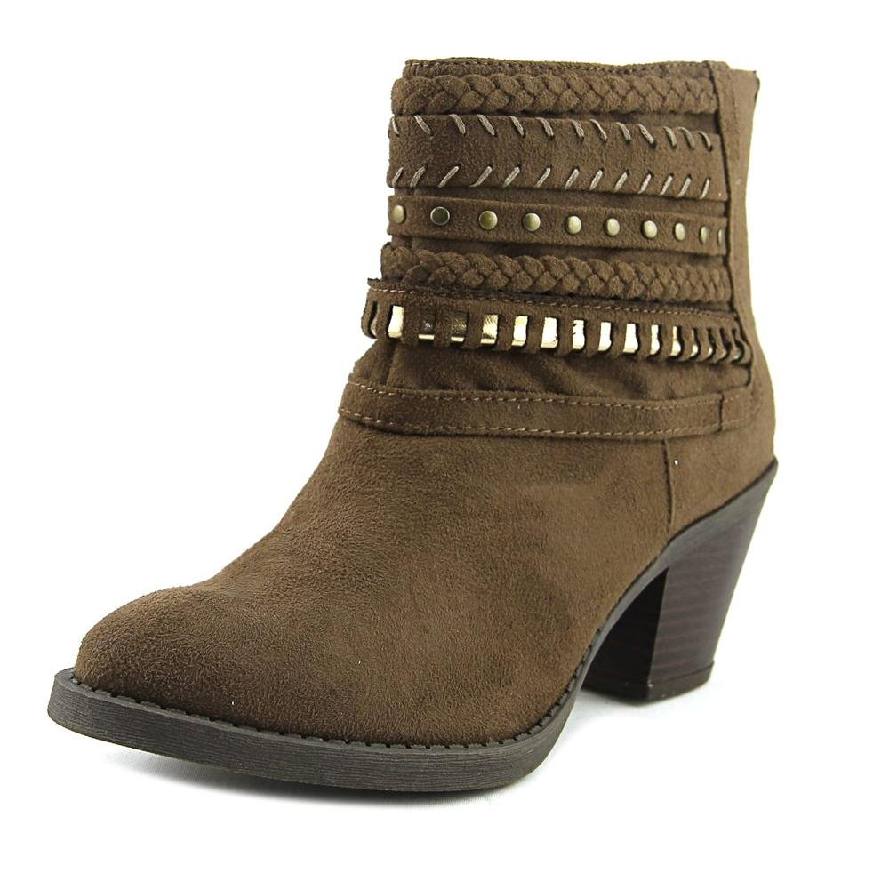 Sugar Women's Tall Tale Block Heel Ankle Boot Bootie with Woven Wraparounds 11 Brown Fabric