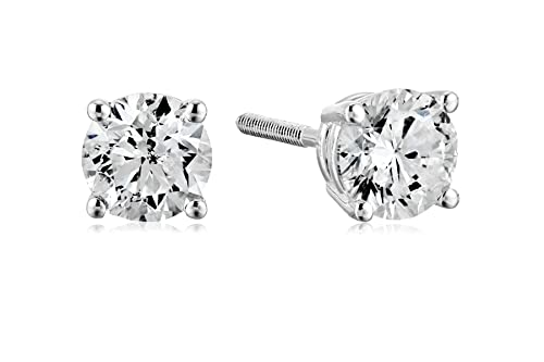 14k White Gold Diamond with Screw Back and Post Stud Earrings (3/4cttw, J-K Color, I2-I3 Clarity)