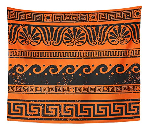 Emvency Tapestry Wall Hanging Red Mythology Ancient Greek Border Ornaments Meanders Roman Wave Vase Rome Band 50
