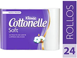 Kleenex Cottonelle Soft Care Papel Higiénico, color Blanco, 24 Rollos de 180 Hojas Dobles