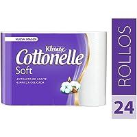 Kleenex Cottonelle Soft, Papel Higiénico, color Blanco, 24 Rollos