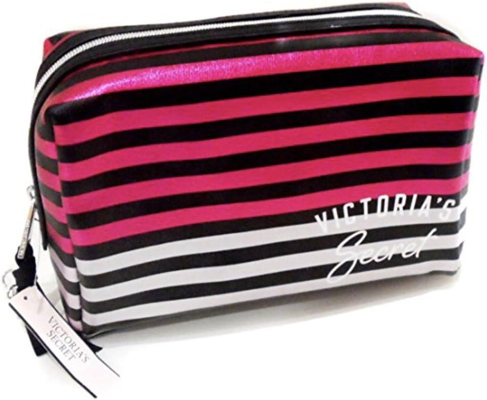 Nuevo genuino Logo De Rayas De Victoria s Secret metálico bolsa de maquillaje estuche de maquillaje, (): Amazon.es: Belleza