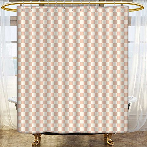 Mikihome Shower Curtains Sets Bathroom Light Salmon Chess Table Like Pink Squares Light Pink and White Satin Fabric Sets Bathroom W66 x H72 - Set Auto Chess