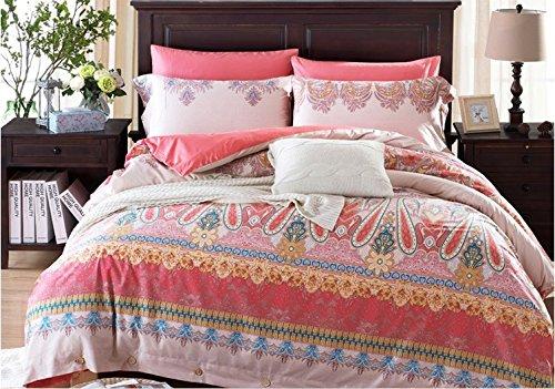 Lelva American Style Cotton Bedding Sets  Bedding Sets Rural Rustic  Boho Duvet Cover Set  Bedding For Girls  Queen King Size 4Pcs  King