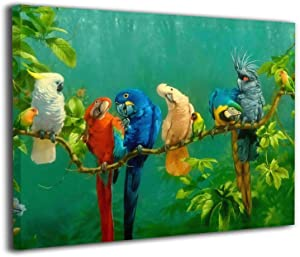 """YYMR Wall Art for Parrot Birds On The Tree Canvas Wall Art Kitchen Wall Decoration Picture Canvas Prints Framed Ready to Hang Contemporary Canvas Artwork for Wall Decor 16""""x 20"""""""