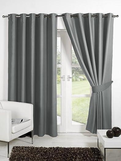 CHome HOMEC Elegant Blackout Multi Eyelet Long Door Curtain Set of 2-48 X 108 Inch in Grey