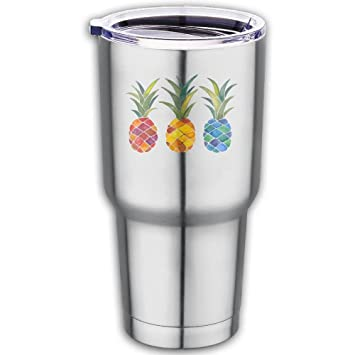 d7cd6988733 Pineapple Stainless Steel Tumbler With Spill Proof Straw Lid, Double ...