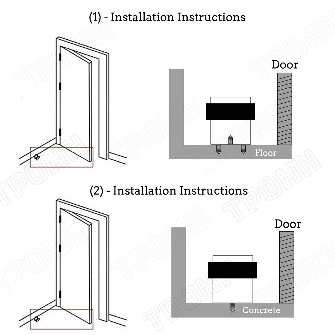 1-3//4 Height TPOHH Brushed Stainless Steel Cylindrical Floor Mount Door Stop