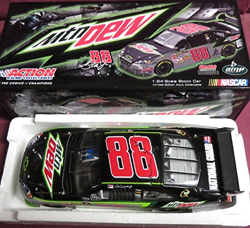 2009 Action Racing Collectables ARC Dale Earnhardt Jr #88 Mountain Dew National Guard 1/24 Scale Diecast Opening Hood, Trunk, Roof Flaps Car of Tomorrow COT Rear Wing Front Splitter
