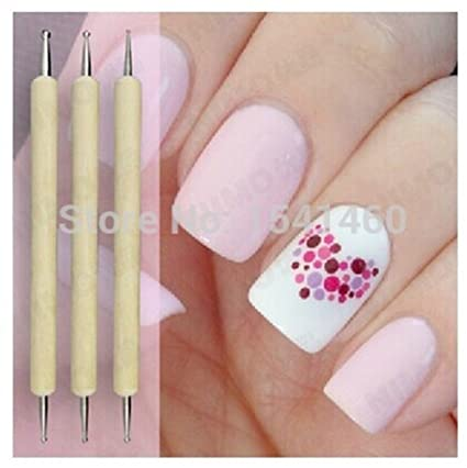 Generic 5pcsset 2 Way Nail Art Dotting Tool Wooden Dotting Pen