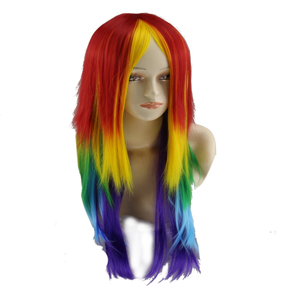M-Egal Women Long Rainbow Color Straight Wigs No Bangs for Party Daily Dress