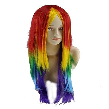 Aiming Mujeres Largo Color del Arco Iris Peluca Recta sin Flequillo para el Vestido de Partido