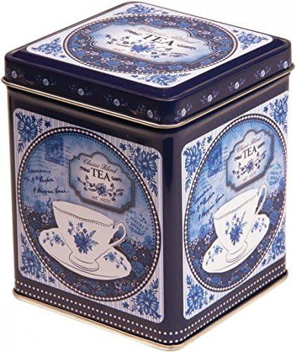 China Blue – Mezcla clásica – Caja para té de Almacenamiento para Cocina Retro Estilo Vintage Tapa Cuadrada con bisagras 100 g Azul y Blanca – 9,5 cm: Amazon.es: Hogar