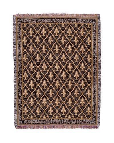 ブラック従来Fleur De Lis Tapestry Throw Blanket 50 x 70だけでホーム B018FCXCSG