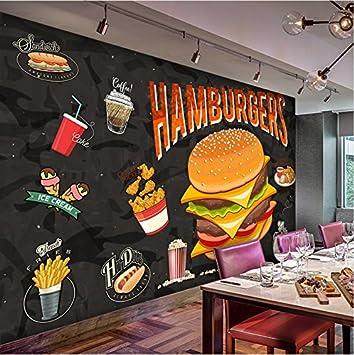 Weaeo Custom Any Size Murales 3D Western Burger Fried Chicken ...