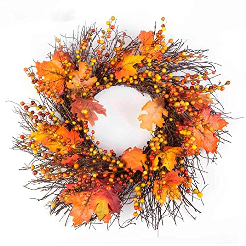 Gotd 50cm Berry Maple Leaf Fall Door Wreath Door Wall Ornament Thanksgiving Day Xmas Christmas Tree Decrations (Yellow) (Wreaths Fall Sale Door)