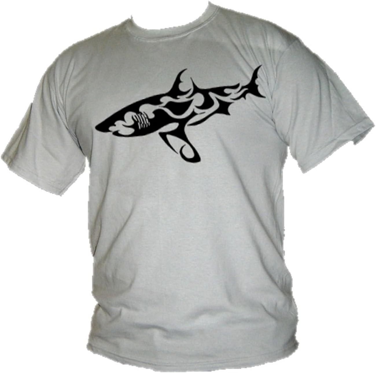 Great White Shark Mens T-Shirt Tribal Tattoo Style