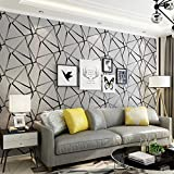 Wallpaper Modern Minimalist Geometric Pattern Non-Woven Wallpaper Nordic Black and White 3D Stereo TV Background Wall (Grey)