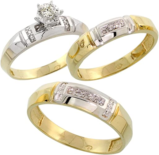 Silver or gold trio ring