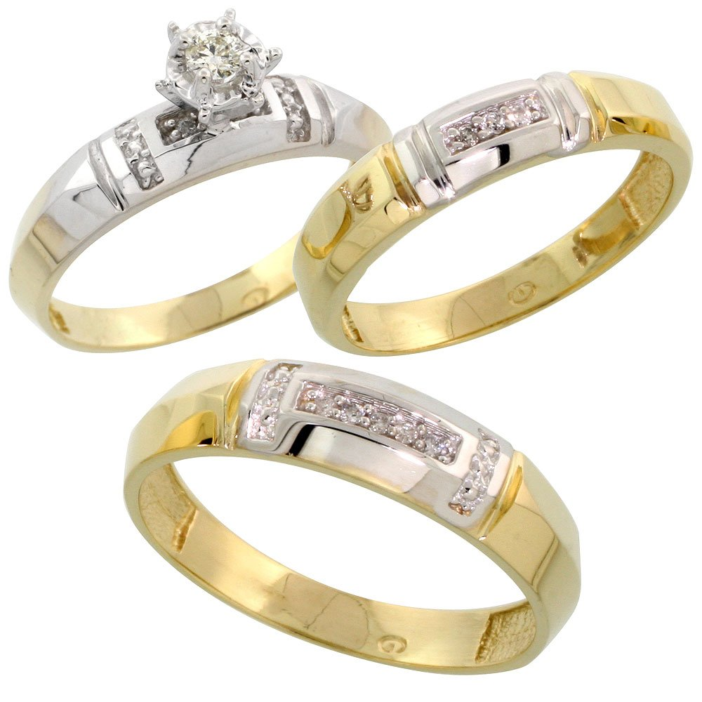Gold Plated Sterling Silver Diamond Trio Wedding Ring Set His 5.5mm & Hers 4mm, Ladies Size 10