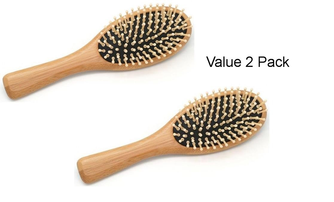 (2 Pack) Wooden Bamboo Cushioned Detangle Massaging Hairbrush Travel Purse Size Dependable Industries inc