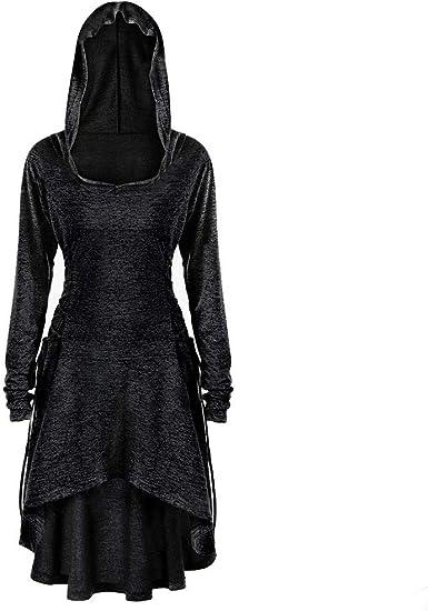 Women Hooded Tie-Dyed Sweatshirt Dress Long Sleeve Bandage Medieval Vintage Lace Up High Low Cloak Robe