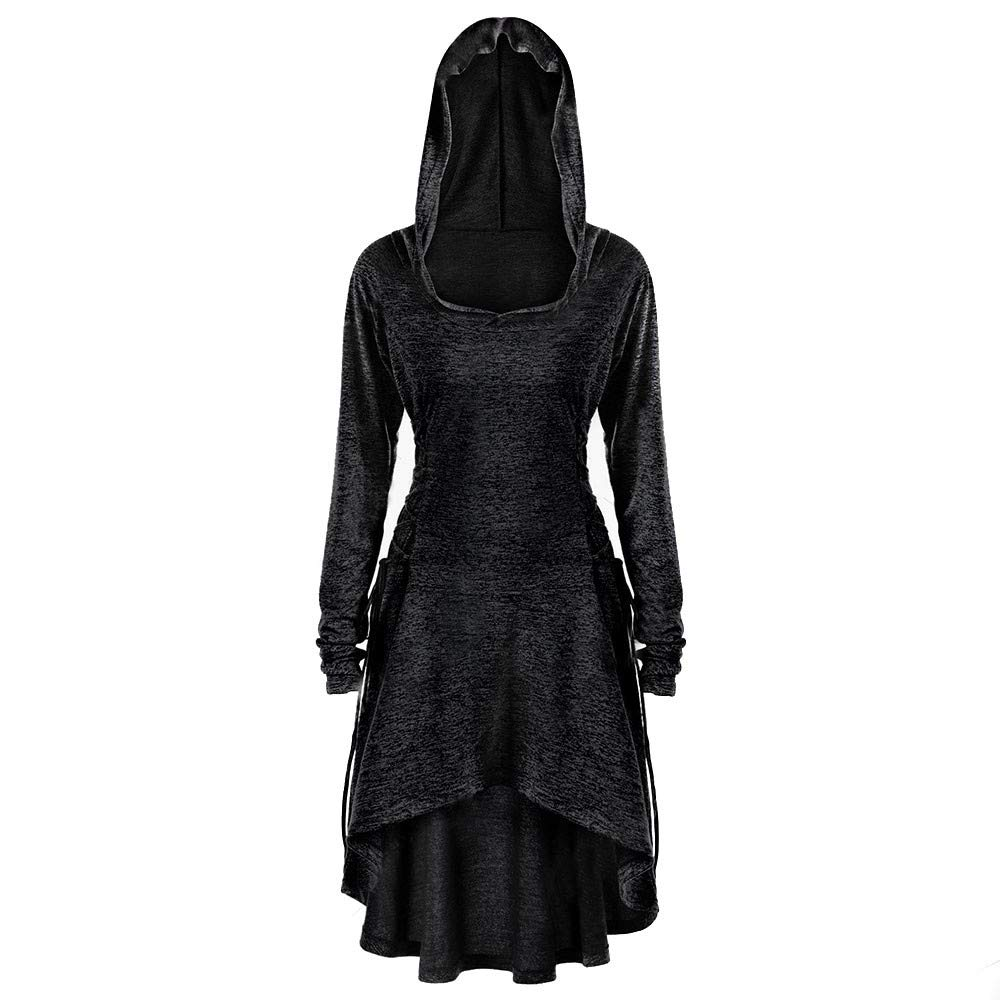 UOFOCO Side Bandage Hooded Dress Womens Casual Long Sleeve Loose Dress Black by UOFOCO