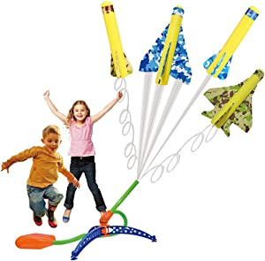 US Sense 4 Pack Kids Step-Powered Glider Stunt Plane Flyer Foam Planes Outdoor Rocket Toy with Adjustable Launcher - Gift for Boys and Girls Ages 3 Years and Up